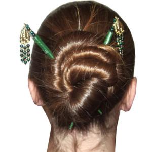 woman wearing hair sticks