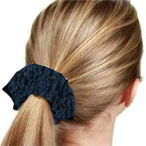 A scrunchy hair tie is a piece of elastic covered by material such as cotton, velour, satin, chiffon, etc.